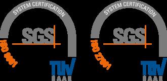 Logos der Zertifizierungen nach ISO 27001 & 9001